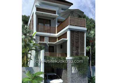 Design a 3-storey house with a width of 5,5 m but elegant in a modern tropical Balinese style