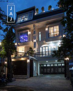Modern Mediterranean night view facade
