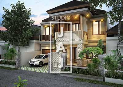 House Design 2 Floors Building area 350m2 Balinese style Modern Bp Wayan Jakarta