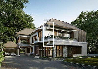 Design of a 2-storey residential house 400 m2 modern Balinese style in Papua