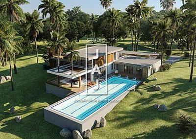 Desain Rumah Modern Style luas 560 m2 di Pangandaran Jawa Barat
