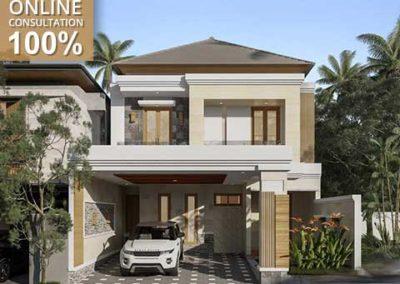 Desain Rumah 2 Lantai Memadukan Unsur Modern dan Tropis milik pak Alven