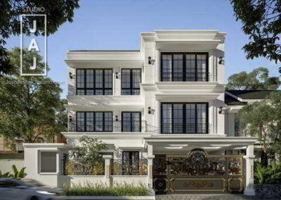 Desain Rumah 3 Lantai bergaya Modern Klasik dengan Ruangan Luas dan Terorganisir