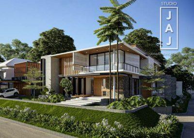Rumah 2 Lantai dengan Konsep Open Plan pada Lahan Hook